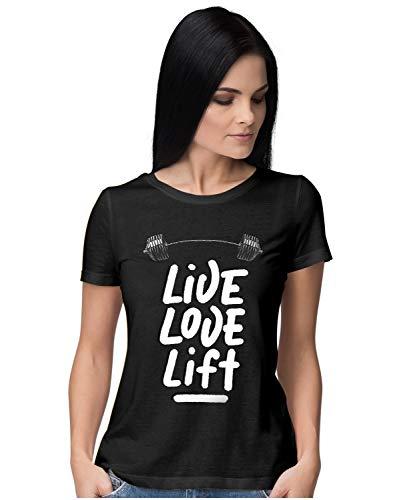 Heybroh Women's Regular Fit T-Shirt Live Love Lift 100% Cotton T-Shirt
