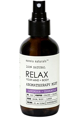 eunoia naturals Relax- Lavender Pillow Spray, Lavender + Chamomile Sleep Mist, Lavender Calming Essential Oil, Free 30 Minute Sleep Audio, Lavender Spray for Sleep, Lavender Spray, 4oz Glass