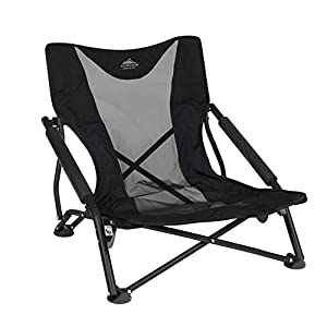 Cascade Mountain Tech Compact Low Profile Outdoor Folding Camp Chair with Carry Case Black