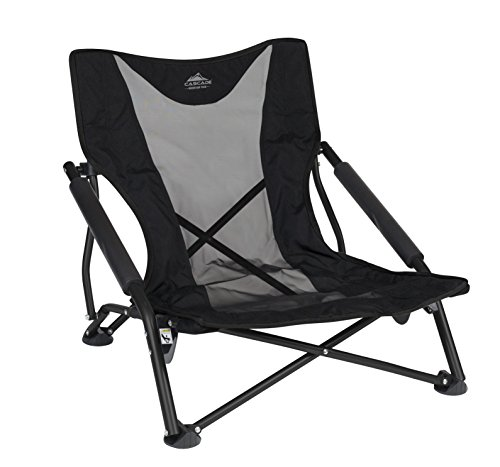 Cascade Mountain Tech Compact Low Profile Outdoor Folding Camp Chair with Carry Case - Black (Chairs Ground)