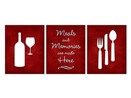 Red Chalkboard Kitchen Art Prints, Fork And Spoon Wall Decor, Wine Glass Art