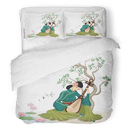 Emvency Decor Duvet Cover Set Twin Size Beautiful Chinese Woman Sitting and Playing The Traditional Musical Instrument 3 Piece Brushed Microfiber Fabric Print Bedding Set Cover]()