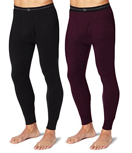 Duofold KMW2 Men's Mid Weight Wicking Thermal Pant 1 Black + 1 Bordeaux Red 2XL