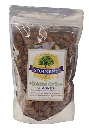 Roasted Garlic Almonds (16oz) Bold Seasoned Flavored Steam Pasteurized Nut Snacks from the Sohnrey Family Farm
