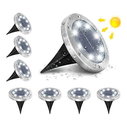 chollos oferta descuentos barato AMBOTHER Luz solar Jardín al aire libre Iluminación de suelo 8 LED 6000K Blanco frío IP65 Lámpara solar Foco empotrado para terraza de camino Patio subterráneo reforzado con 6 tornillos Lote de 8