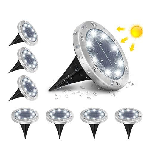 Grondverlichting op zonne-energie, AMBOTHER 8 LEDs Zonne-Lamp buitenverlichting tuinverlichting waterdicht IP65, wit…
