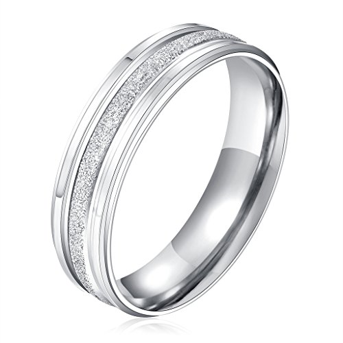 Stainless Steel Couple Wedding Bands for Him and Her 4MM Womens Promise Engagement Rings Size 7 by Aienid (Image #7)