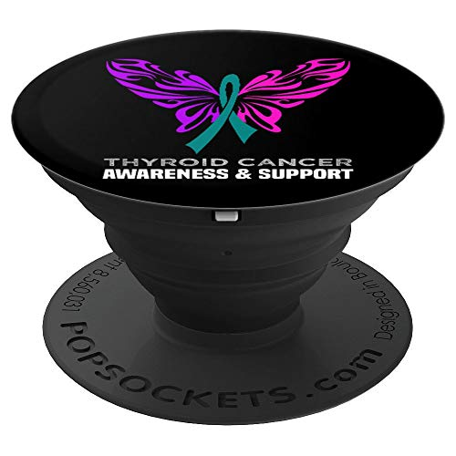Thyroid Cancer Awareness Designsanddesigns Thyroid Cancer Awareness Pink Teal Blue Ribbon Butterfly Popsockets Grip