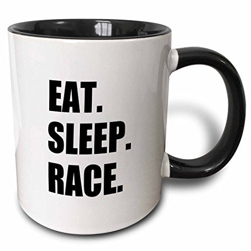 (3dRose 180431_4 Eat Sleep Gift for Racing Fans-Fun Sport Running Or Car Racer Two Tone Mug, 11 oz, Black)