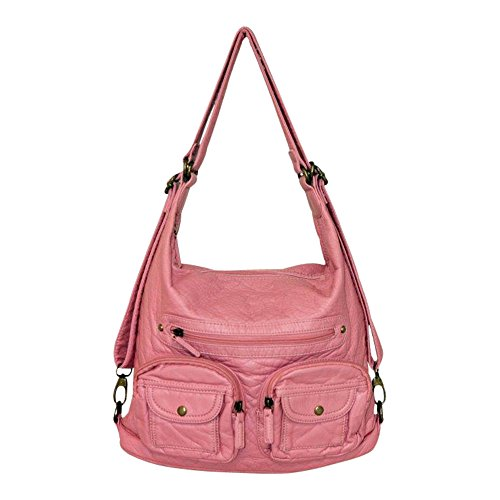 [Convertible Purse - Both Backpack and Shoulder Bag in Soft Vegan Leather Rose Pink] (Pink Soft Leather)
