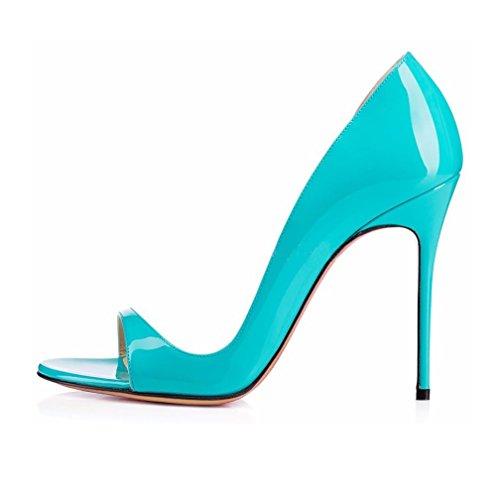 EDEFS- Escarpins Femme - Chaussures à talons aiguilles - Sexy Bout Ouvert - Cuir Brillant Synthétique - Plusieurs coloris Bleu CEOCNHr74