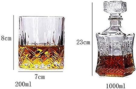 GXYtable cloth Juego de vinos de Vidrio de Whisky decantador de Whisky, Botella de Vino de Girasol Cuadrado + 6 Gafas de Whisky