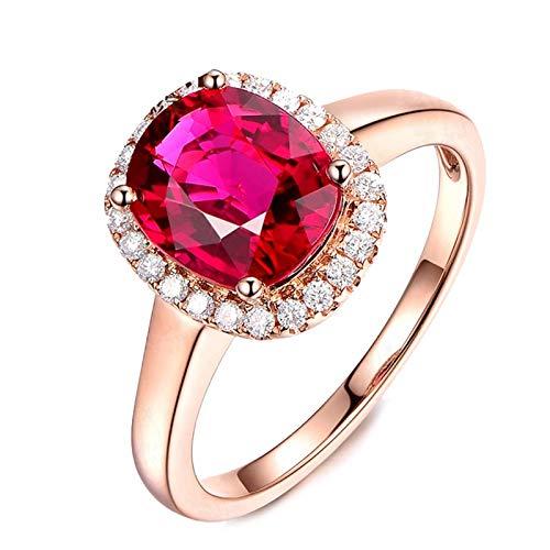 Adisaer-Women's Ring 18K Pink Gold Tourmaline 2.11ct Red ()