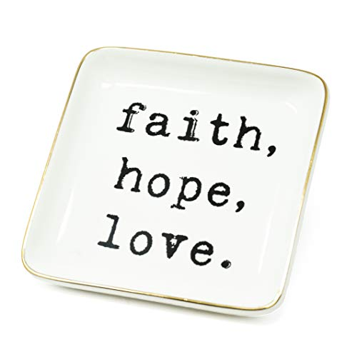 ReLive Decorative Expressions - 5x5 Square Ceramic Trinket Jewelry Tray Faith Hope ()