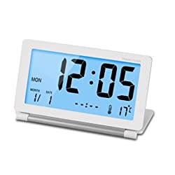Mini Foldable Travel Alarm Clock with Temperature/Date/Calendar/Snooze for Office /Bedroom/Study/kitchen/Living room Silent LCD Digital Screen Desk Clock with Soft Blue Backlight