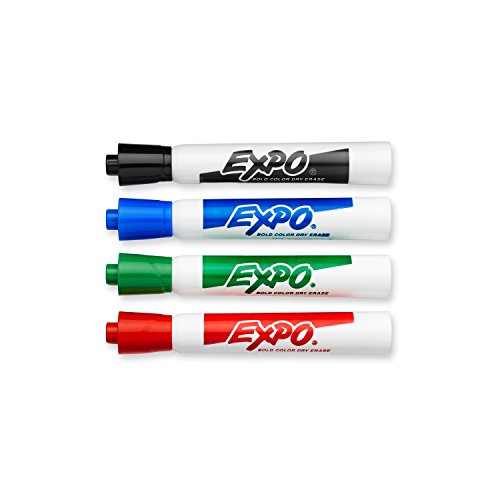EXPO Original Dry Erase Markers, Bullet Tip, Assorted Colors, 4-Count