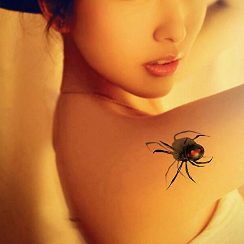 TAFLY Fake Waterproof 3D Insects Temporary Spiders Tattoos Stickers 5 Sheets]()
