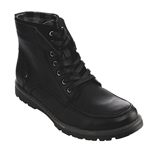 Arider AC79 Men's High-Top 7-eyelet Lace Up Flat Heel Work Sneaker Boots, Color:BLACK, Size:7.5
