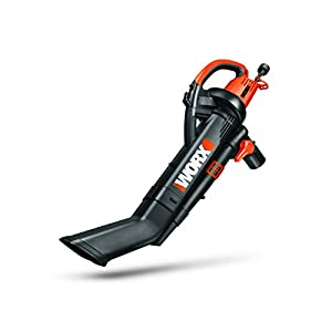 WORX TRIVAC 12 Amp 3-in-One Blower/Mulcher/Vacuum with Metal Impeller, 210 MPH / 350 CFM Adjustable Output, and Collection Bag – WG509
