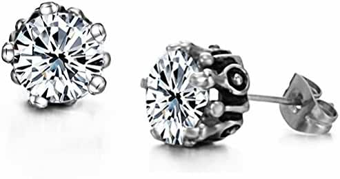 megko Cubic Zirconia Stud Earrings Fashion Women's Crystal Titanium Steel Stud Earring