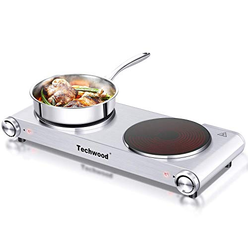 Stove Hot Plate - Techwood Hot Plate Electric Burner Countertop Burner Double Burner Infrared Ceramic Double Cooktop Cast Iron Outdoor Electric Stove 1800W (900W & 900W) with Adjustable Temperature Control Brushed Stainless Steel Easy To Clean Upgraded Version