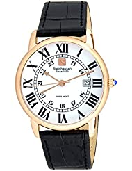 Steinhausen Mens S0722 Classic Delémont Swiss Quartz Stainless Steel Watch With Black Leather Band