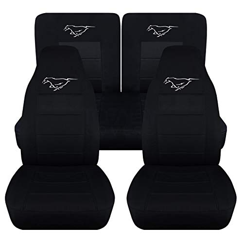 (Totally Covers Fits 1994-2004 Ford Mustang Black Seat Covers w Pony: Black w White - Full Set Coupe/Convertible Solid/Split Bench 4th Gen 1995 1996 1997 1998 1999 2000 2001 2002 2003)