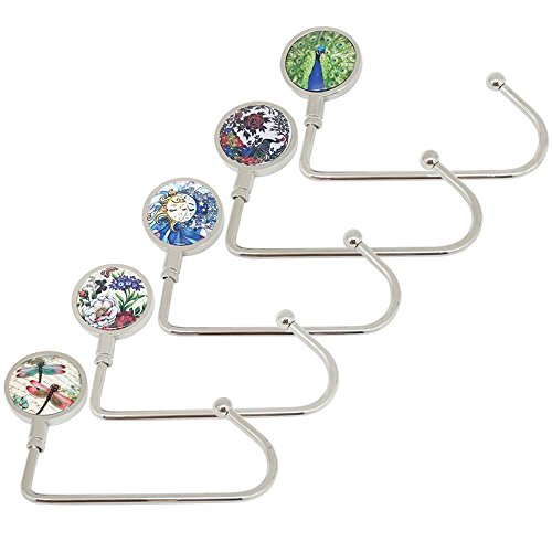 ROFLYER Nature Instant Swivel Top Purse Hook Hanger Under Counter Handbags Hooks (Set of 5)
