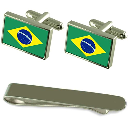 Brazil Flag Silver Cufflinks Tie Clip Engraved Gift Set by Select Gifts
