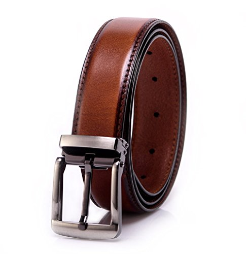 YoMeiJun Men's Leather Belt Handmade Vegetable Tanned Leather 35mm Width Brown M