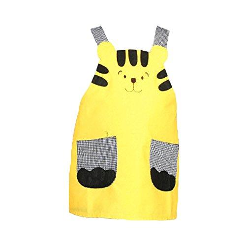 NormCorer Cute Unisex Children Cartoon Apron Toddler Lovely Bib Smock for Cooking | Baking | Painting | DIY Art & Crafts -1Pcs (yellow tiger, S) -