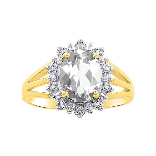 Princess Diana Inspired Halo Diamond & White Topaz Ring Set In 14K Yellow Gold by Rylos