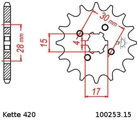 Kettensatz geeignet f/ür MB 80 S 80-84 Kette RK 420 106 offen 15//40
