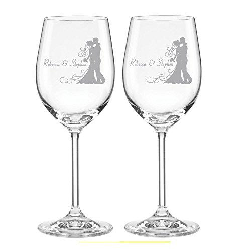 LENOX Blush Crystal White Wine Glasses 11oz Personalized Bride & Groom Couple Design 2pc Set Wedding #73-06