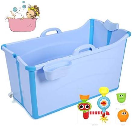 折りたたみバスタブ GYF 折り畳み式バスタブ ポータブル大人用バスタブ プラスチックカバーホーム全身 子供用入浴バケツ 厚くなった大人の浴槽 プラスチック製のバスタブ91x50x53cm (Color : Blue)