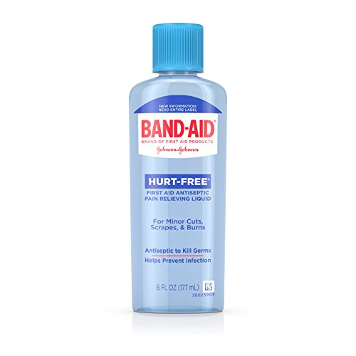 Band Aid Brand First Aid Hurt-Free Antiseptic Wash Treatment, Cleans Wounds and Kills Germs, 6 fl. oz