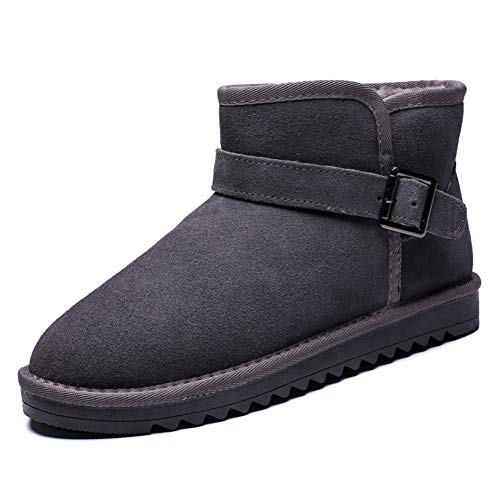 FOBEY Men-Women Suede Leather Winter Warm Classic Fur Lined Ankle Snow Boots Grey