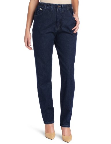(Lee Women's Relaxed Fit Side Elastic Tapered Leg Jean, Dark Indigo, 16 Medium)