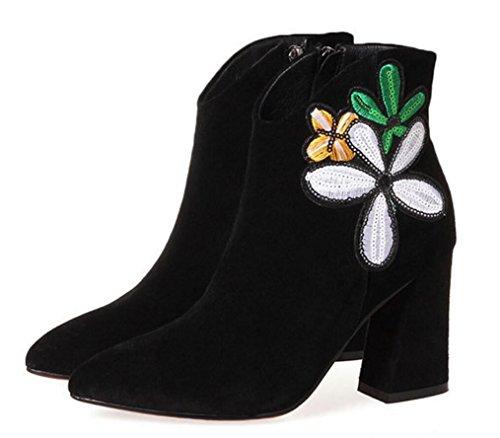 ZCH Mujer Botas de tacón alto cuero mate puntiagudo áspero solo botas mujer lado cremallera flores de bordado botas botas de mujer black plus velvet
