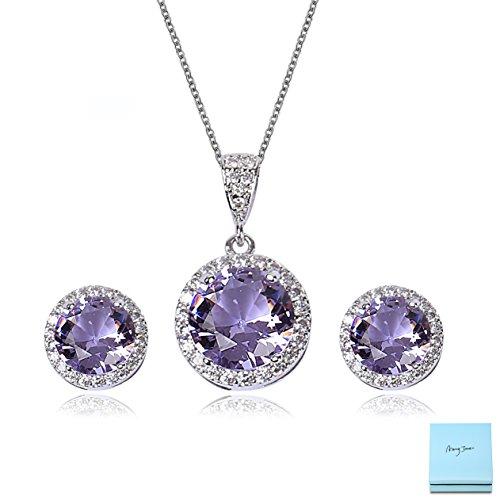 AMYJANE Amethyst Jewelry Set for Bridesmaids - Sterling Silver Round Purple Cubic Zirconia Crystal Bridal Pendant Necklace Earrings Set for Wedding Bride ()