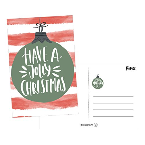 50 Red & Green Holiday Greeting Cards, Cute Fancy Blank Winter Christmas Postcard Set, Bulk Pack of Premium Seasons Greetings Note, Happy New Years for Kids, Business Office or Church Thank You Notes