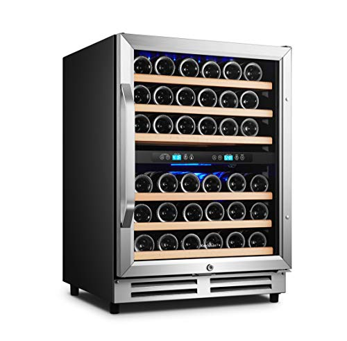 Karcassin Wine Cooler Refrigerator - Compressor Wine Bottle Chiller - 2 Compartment - Dual Temp Zones for Red & White - Stores upto 46 Bottles - Silent with Low Vibrations - Freestanding or Built-in