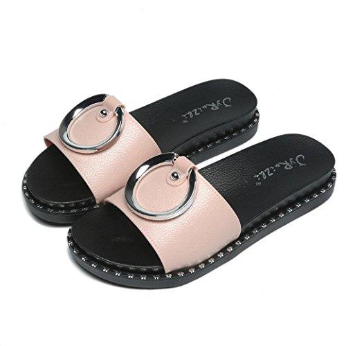 Platform HUHU833 Wedge Slippers Round Button Sandals Ladies Summer Beach Women Pink fOwOHx