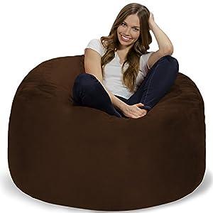 Chill Sack Bean Bag Chair: Giant 4′ Memory Foam Furniture Bean Bag – Big Sofa with Soft Micro Fiber Cover – Chocolate