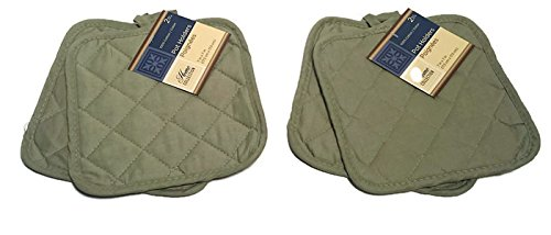 Pack of Four (4) Green Home Store Cotton Pot Holders (2 Sets of 2)