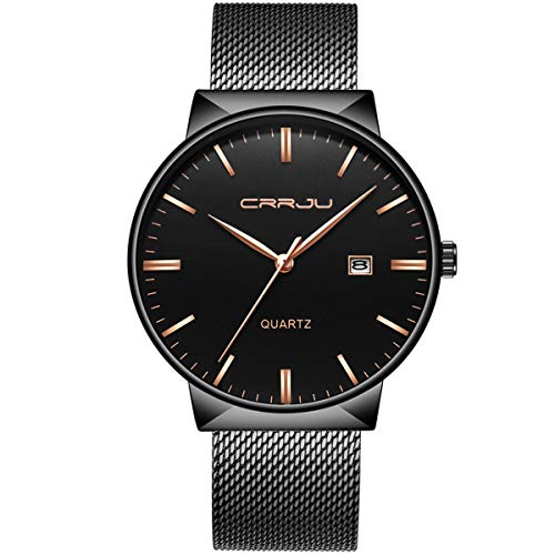Mens Watch Deep Blue/Black Ultra Thin Wrist Watches for Men Fashion Classic Gift Mesh Waterproof Dress Stainless Steel Band - Black Gold Pointer Date ()