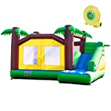 Costzon Inflatable Jungle Bounce House Jump and Slide Bouncer Castle (Bouncer with 950W Blower)