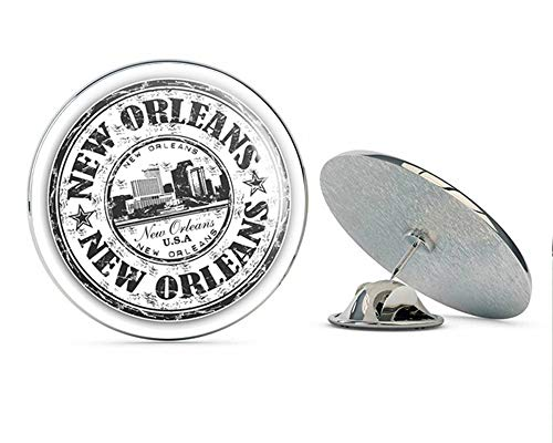 - New Orleans USA Grunge Rubber Stamp Round Metal 0.75