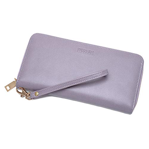 (WOZEAH Women's RFID Blocking PU Leather Zip Around Wallet Clutch Large Travel Purse (C light purple))
