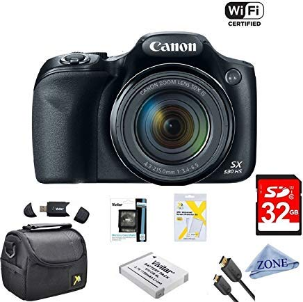 Canon Powershot SX530 HS 16MP Wi-Fi Super-Zoom Digital Camera 50x Optical Zoom Ultimate Bundle Includes Deluxe Camera Bag, 32GB Memory Cards, Extra Battery, Tripod, Card Reader, HDMI Cable & ()